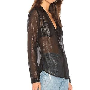 Paige Everleigh metallic button down
